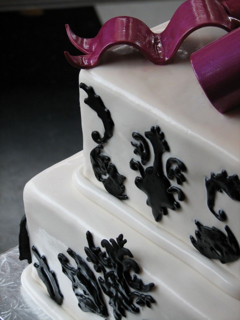 Black White Damask Cake