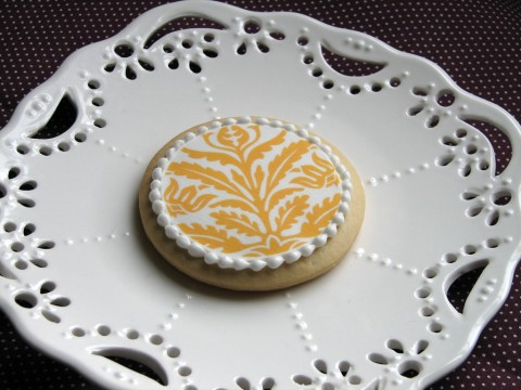 yellow white damask cookie