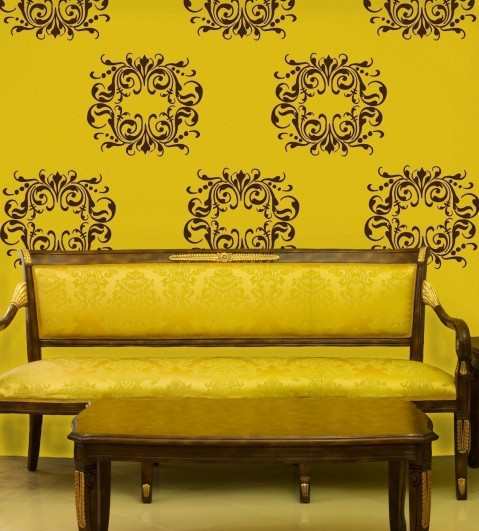 Damask Wall Decal Yellow Black