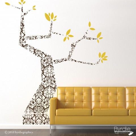 Black Modern Damask Tree